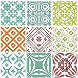 Mi Alma azulejos decorativos para baño, 24 piezas Talavera azulejos adhesivos de fácil aplicación, ideal para baño, cocina, azulejos de pared – 4 x 4