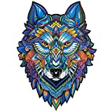 Unidragon Wooden Puzzle Jigsaw, Best Gift for Adults and Kids, Unique Shape Jigsaw Pieces Majestic Wolf, 6.7 х 9.5 inches, 101 Pieces, Small