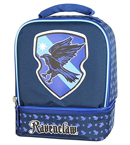 Harry Potter Lunch Box - Gryffindor, Slytherin, Ravenclaw, Hufflepuff Insulated Dual Compartment Tote Bag (Ravenclaw)