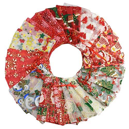 UMIPUBO Organza-Beutel, Organza-Beutel, mehrfarbig, für Hochzeit, Schmuck, Party, Geschenkverpackung, Süßigkeiten, Schokolade, Weihnachten, 30 Stück