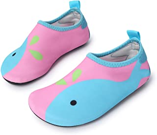 L-RUN Unisex Barefoot Flexible Aqua Water Shoes for Beach Pool Surf Yoga Exercise Pink 5-5.5=EU 20-21