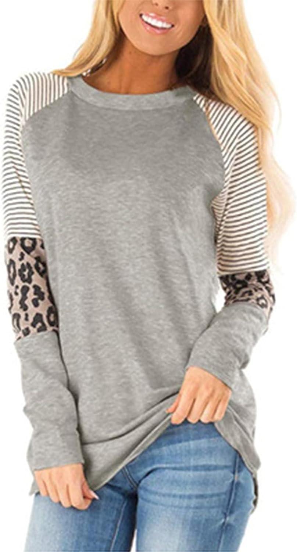 MISISI Women Long Sleeve Leopard Overseas parallel import regular item Color for Legg Tunic Tops Block Louisville-Jefferson County Mall