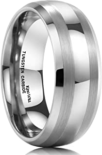 King Will TYRE Men's 8mm Tungsten Carbide Ring Wedding Engagement Band Matte/Brushed Finish Lines
