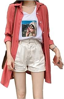 [アンリ] 【在庫処分セール】ロングシャツ シャツ ワンピース オーバーサイズ とろみ ゆったり 羽織もの M ~ XL レディース