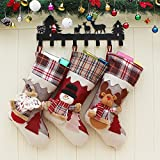 OCTOPUSIR - Medias de Navidad (3 unidades, diseño de Papá Noel 2018, diseño de reno, nieve y reno, decoración navideña clásica, calcetines de chimenea de felpa 3D, 45,7 cm, juego de 3)