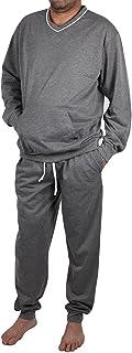 True Face Mens Pyjama Set Lounge Nightwear Loungewear Top Shirt Casual Pjs Long Sleeve V-Neck Bottom Cotton Ribbed Hem Cuf...