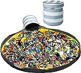 玩具収納箱 アウトドア おもちゃ収納バスケット 兼 プレイマット ふた付き 折りたたみ式(ストライプ)