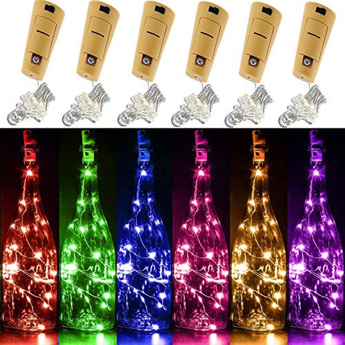 Yitee 6 PCS 6 Colors LED String Light, Battery Operated Wine Bottle Cork Lights 20 Starry LED Copper Wire Lights, 6.5 Feet/2M,Best for Mason Jar Lights,Moon Lights,Party,Wedding and Home Decoration