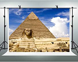 FHZON 7x5ft Majestic Egyptian Pyramid Photography Backdrop Face Image Blue Sky White Clouds Background Themed Party YouTube Backdrops Photo Booth Studio Props FH1347