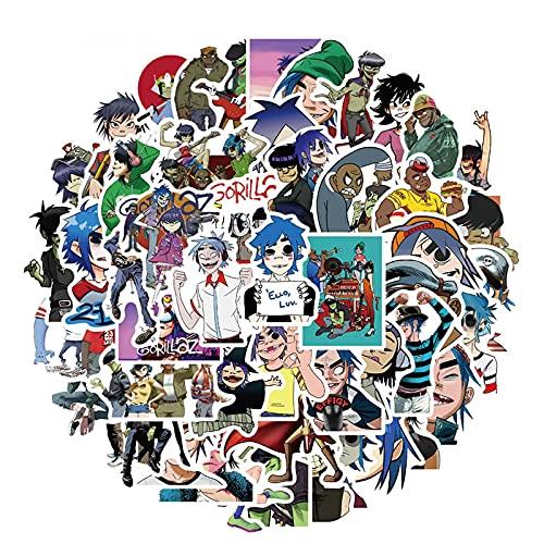 YZFCL Blur Band Gorillaz Pegatinas Para Maleta Portátil Monopatín Teléfono Equipaje Juguete Impermeable Pegatinas Para Niños Adolescentes Adultos 50pcs