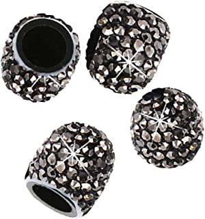 4 Stück Reifen Ventilkappen,MoreChioce Universal Diamant Glitzer Strass Ventilkappen Reifenventil Staubkappen Fahrradreifenventilkappen für Auto Motorrad MTB LKW,Glänzend Schwarz