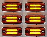 6 luces LED de neón de 24 V de posición lateral naranja ámbar marcador luces de luces de camión volquete camión caravana remolque