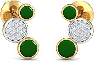 KuberBox Yellow Gold and Diamond Stud Earrings for Women