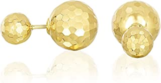 Mia Diamonds 14k Yellow Gold Double Sided Earrings with Faceted Bead Design