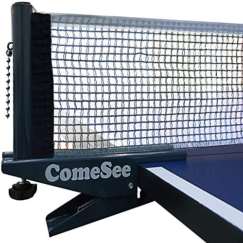 Comesee Ping Pong Net Set Table Tennis Table Post Professional Spring Activated Clamp with Net Clip Insert 12 Inch Width Grip Holder Tension and Height Adjustable Easy Set Up Navy