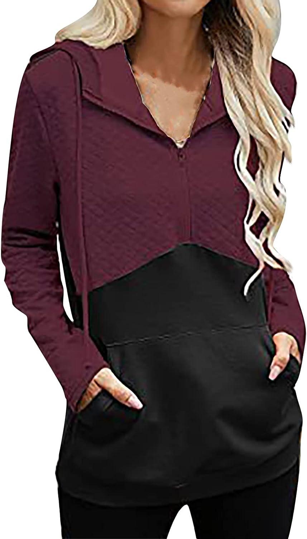 Women V Neck Sweatshirt Bombing new work Patchwork Hoodies Tunic Long Zip Gorgeous Sleeve