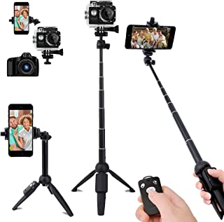Selfie Stick,40 Inch Extendable Selfie Stick Tripod and Phone Tripod Stand with Rechargeable Wireless Remote,Compatible wi...