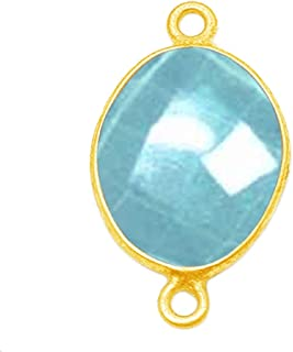 Green Onyx Rectangle 24K Gold Plated Over 925 Sterling Silver Natural Gemstone Bezel Charms Links Connector Pendant Bail DIY Jewelry