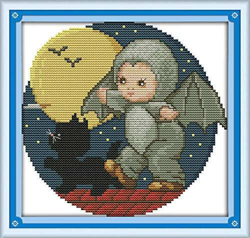 PJX Kit de punto de cruz de murciélago bebé animal 18 ct 14 ct 11 ct impresión lienzo costura DIY hecho a mano costura plus 11ct lienzo sin impresión