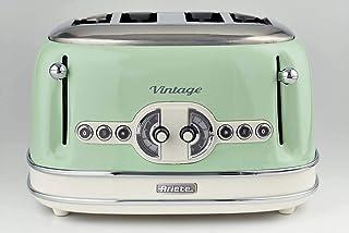 Ariete Vintage 156 Grille-pain 4 tranches, 1600 watts, 6 niveaux de grillage, en acier inoxydable peint en couleur vert pa...