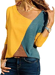 desolateness Women Color Block Patchwork Shirts Shirt Sleeveless Casual Slim Fit Round Neck Tunics Tops