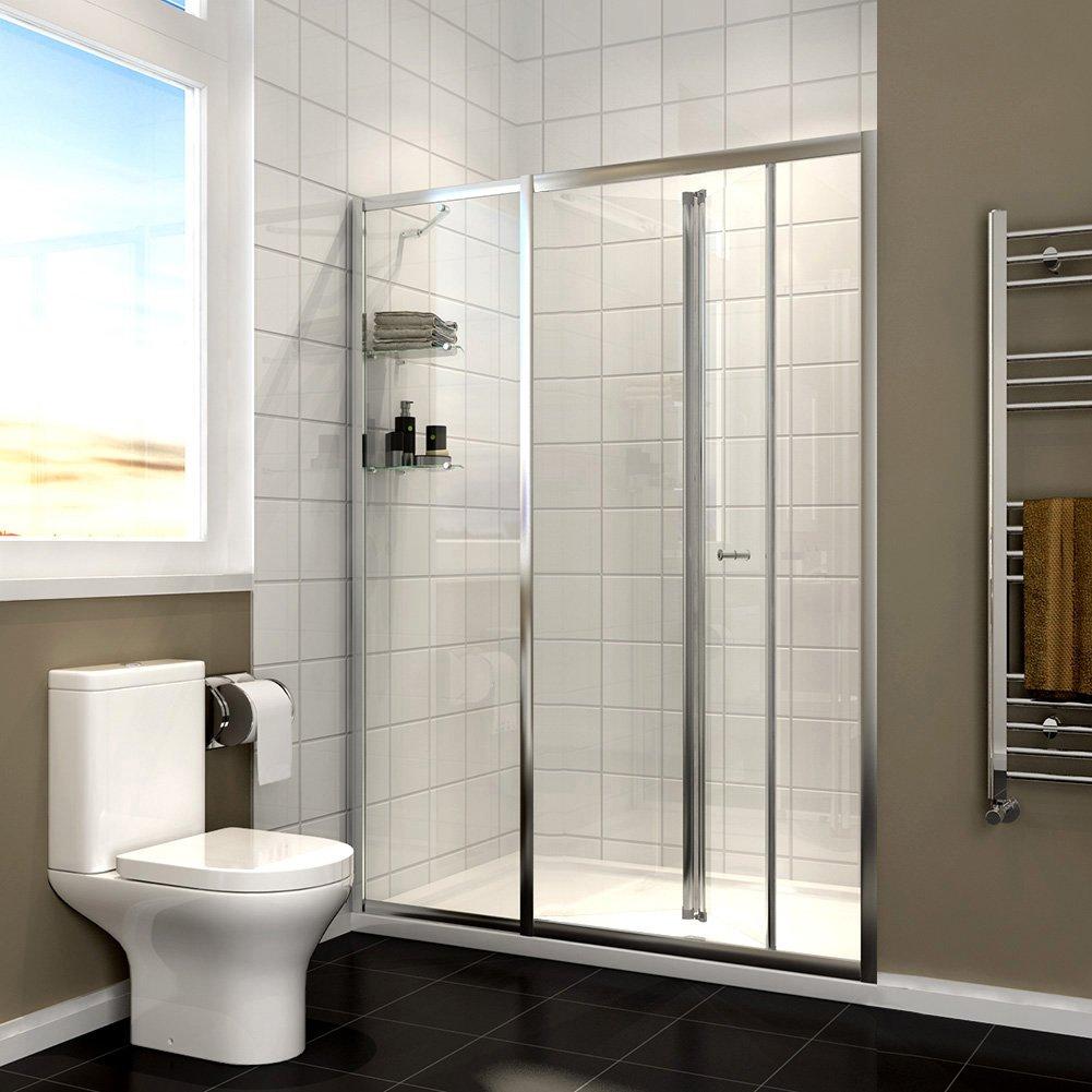 Almacenaje Reversible plegable para mampara de ducha de cristal 1100 mm Bi-fold ducha pantalla cubículo con panel Inline Y estantes: Amazon.es: Hogar