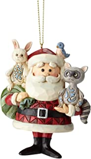 Enesco Rudolph The Red Nosed Reindeer by Jim Shore Santa with Woodland Animals Hanging Ornament, 3.6