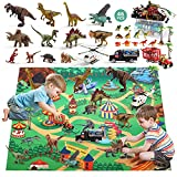 CUTE STONE 46Pcs Dinosaur Toy Playset w/ Activity Play Mat, Realistic Dinosaur Figure Toys w/3 Vehicles to Create a Dino World Including T-Rex, Triceratops, Velociraptor, Kids Perfect Educational Gift