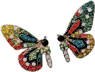 BELONGSCI Gold Plated Stud Earrings for Women Butterfly Shaped Rhinestone Earrings Pierced Hypoallergenic Crystal Earrings for Ladies