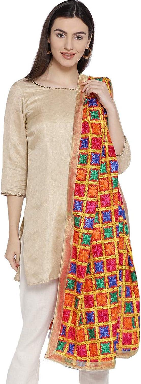 Weavers Villa Women's Indian Handicraft Ethnic Dupatta Heavy Phulkari Embroidery Dupatta Chunni Stole Scarf