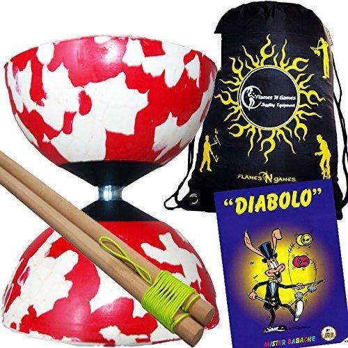 Mr Babache Harlequin Diabolo Set - White/Red! With Wooden Diablo sticks, Mr Babache Diabolo Book of Tricks + Flames 'N Games FABRIC Diabolo Travel Bag!