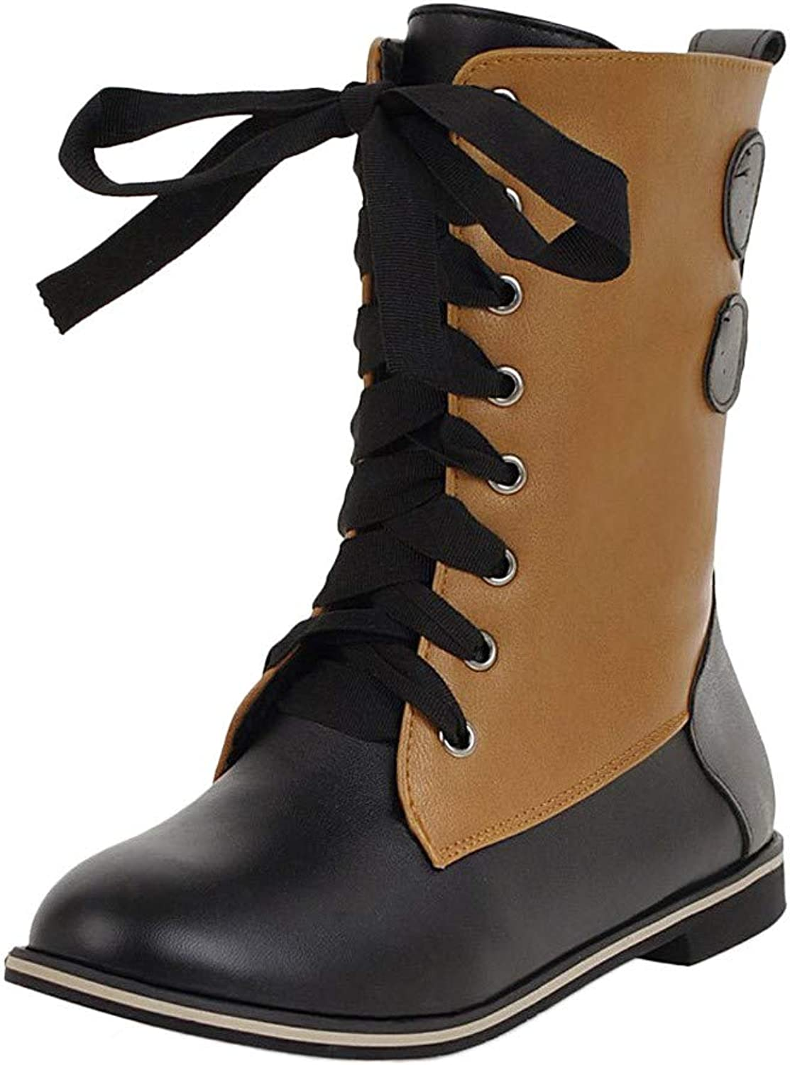 Anxinke Women Fashion Lace-up Leather Mid Calf Combat Boots