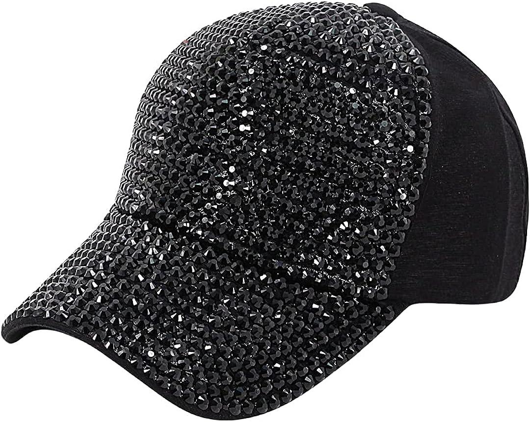 Surkat Studded Rhinestone Baseball Cap Bun Ponytail Adjustable Hat Sparkle Bling Denim Sun Hat