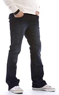 Da Uomo Nuovo APT Bootleg Jeans marca King Size Boot Cut Fit Pantaloni Jeans Taglia 28-48