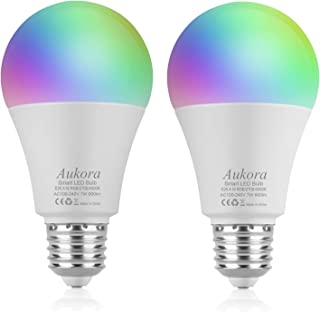 WiFi Smart Light Bulb, Aukora LED Light Bulb Compatible with Amazon Alexa Google Home(No Hub Required), A19 E26 60W Equivalent(7W), Color Changing Dimmable Multicolor Light Bulb for Halloween, 2 Pack