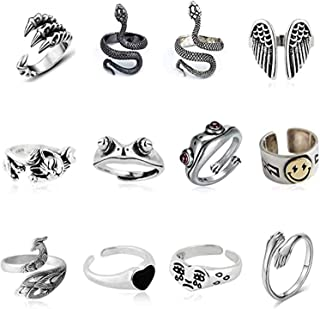 DELFINO 12 Pcs Silver Plated Frog Rings Set, Cute Animal Open Rings Pack, Vintage Goth Hippie Matching Rings, Cute and Sty...