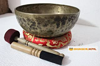 Sacral Chakra D Note Auntic Hand Hammered Tibetan Meditation Singing Bowl 9.5 Inches - Yoga Old Bowl By Singing Nepal