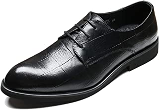 [DOUERY LTD] メンズ革靴 格子 ビジネスシューズ フォーマル 26.5cm 26.5cm ?レースアップ 柔らかい おしゃれ ポインテッドトゥ 結婚式 黒色 学生 通勤 カジュアル 紳士靴 ブラック防水 クッション性 黒プラスベルベット防寒