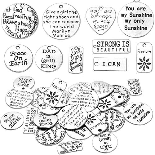 BronaGrand 40pcs Mixed Inspiration Word Charms Engraved Pendants Bracelets Bead Charms for Craft and Jewelry Making 10 Styles