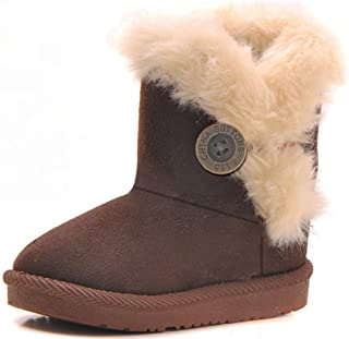 DADAWEN Baby's Girl's Boy's Cute Flat Shoes Bailey Button Winter Warm Snow Boots