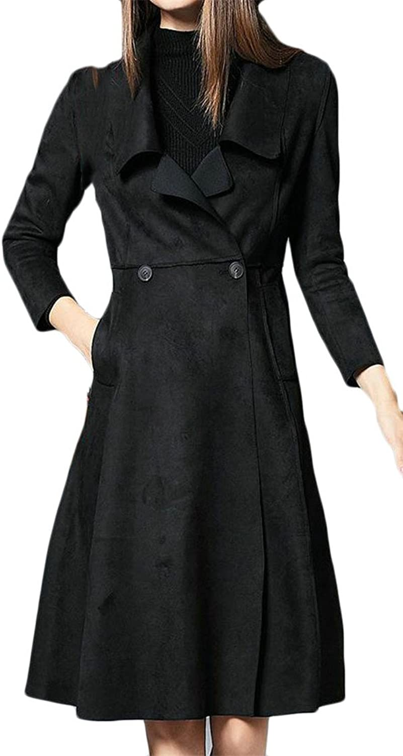 Pandapang Women Suded Open Front Button Vogue Lapel Neck Jacket Coat Trenchcoats