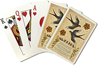 Swallow - Tattoo Flash Sheet (Playing Card Deck - 52 Card Poker Size with Jokers)
