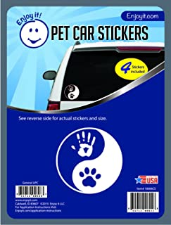 Enjoy It Yin Yang Hand and Paw Car Stickers, 4 pieces, Outdoor Rated Vinyl Sticker Decals for Windows, Bumpers, Laptops or Crafts