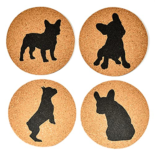 French Bulldog Lovers Cork Drink Coasters - Set of 4 Dog Coasters with Protective Bottom | French Bulldog Decor Coasters for Drinks| Great Gift Idea for French Bulldog Moms & Dads