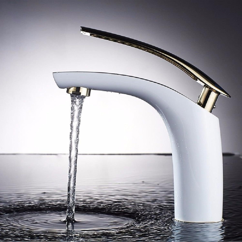 LHbox Bad Armatur in Bad für Waschbecken Waschtisch Wasserhahn Waschtischarmatur Euro Style WC weie Becken Einzelnen HEBEL EINLOCHMONTAGE Kalt-Warmes Leitungswasser, B