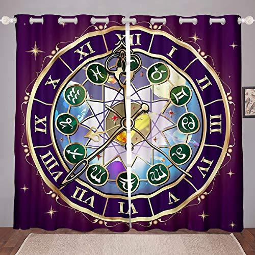 Tema del Reloj Tratamientos de Ventana Chic Retro Romano Cortina de Ventana Paneles Constelación Ventana Cortinas para Niños Niñas dormitoriode Ojal Superior Galaxy Astrología W66 * L72