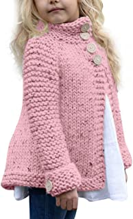 Elogoog Baby Girls Coats Toddler Kids Outfit Clothes Button Warm Knitted Sweater Cardigan Top