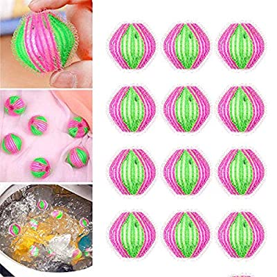 Eco Laundry Balls Washing and Drying, Reusable Magic Hair Catcher Filter Fur Remover Fabric Lint Pet Remover Washing Machine Clothes Clean Ball (12 pcs)