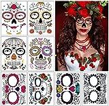 Tatuajes de cara de Halloween, 8 kits Tatuajes temporales del cráneo del azúcar del día de los muertos, Maquillaje de la cara de miedo para disfraces y fiestas