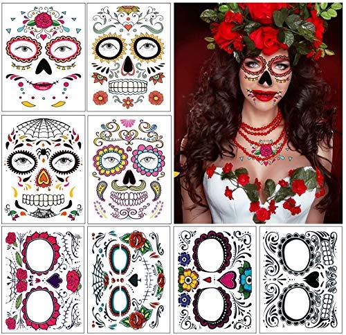 Tatuajes de cara de Halloween, 8 kits Tatuajes temporales del cráneo del azúcar del día de los muertos, Maquillaje de la cara de miedo para disfraces y fiestas (Multicolor)